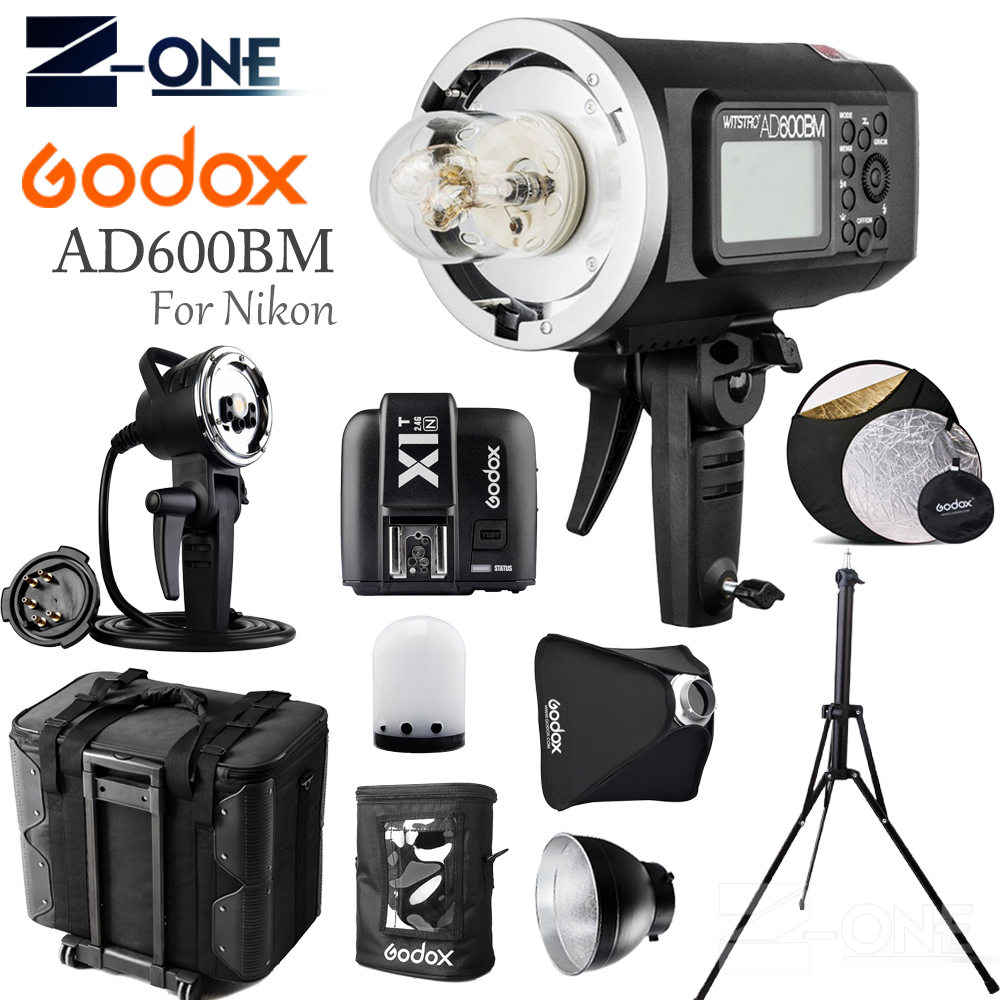 <font><b>GODOX</b></font> <font><b>AD600BM</b></font> HSS 2.4G Wireless Flash Light Speedlite+X1T-N Transmitter+AD-H600B+Draw-Bar Carry Bag+AD-S16 For Nikon Cameras image