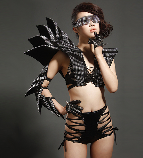 Unique atmospheric stereoscopic armor rivets texture clothing party nightclub bar concert DJ singer/dancer costumes