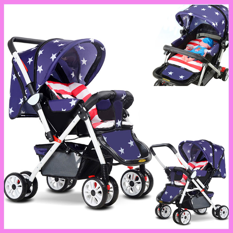 Portable Sit and Lie Baby Umbrella Stroller Steel Baby Carriage for Newborn Infant Reverse Handle Footrest Baby Pram Pushchair