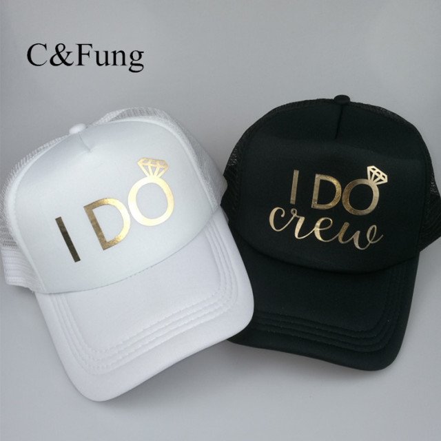 C Fung I Do Crew Trucker hats gold letter I DO mesh hat wedding Bride Squad  Bridal party favors team hat bridesmaid gift 040b32ef4153