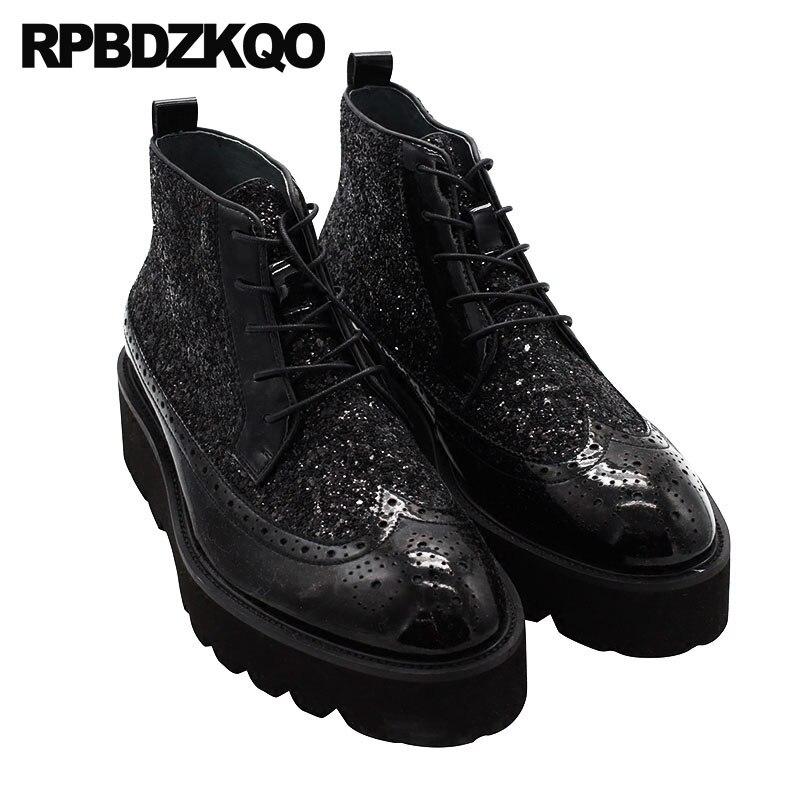 Harajuku Preta Plataforma Sola Grossa Shoes De Botas Couro Grãos Wingtip vermelho Brogue Completa Masculino Patente Glitter High Preto Mens Top Br1xnrq