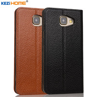 Case For Samsung Galaxy A7 2016 KEZiHOME Genuine Leather Flip Stand Leather Cover For Samsung A7