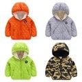 Мужчины девочка хлопка-ватник верхняя одежда девочек , зима 2015 новое поступление детской одежды сплошной цвет камуфляж плюс