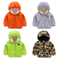 Male female child cotton-padded jacket outerwear child winter 2015 new arrival children's clothing solid color Camouflage plus