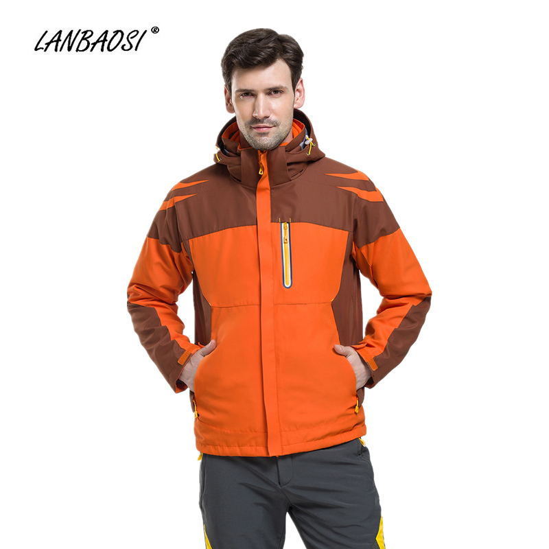 LANBAOSI Winter Men's Hiking Hooded Jackets Coat Thermal Fleece Waterproof Camping Trekking Skiing Outdoor Sports Windbreaker new outdoor sport windbreaker waterproof jacket men hiking camping skiing climbing winter coat fleece lining jaqueta masculino