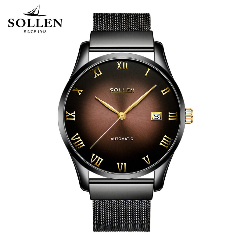 New Brand SOLLEN Watch Men Stainless Steel Mesh Strap mechanical date clock Male Watches Black Waterproof relogio masculino new forcummins insite date unlock proramm