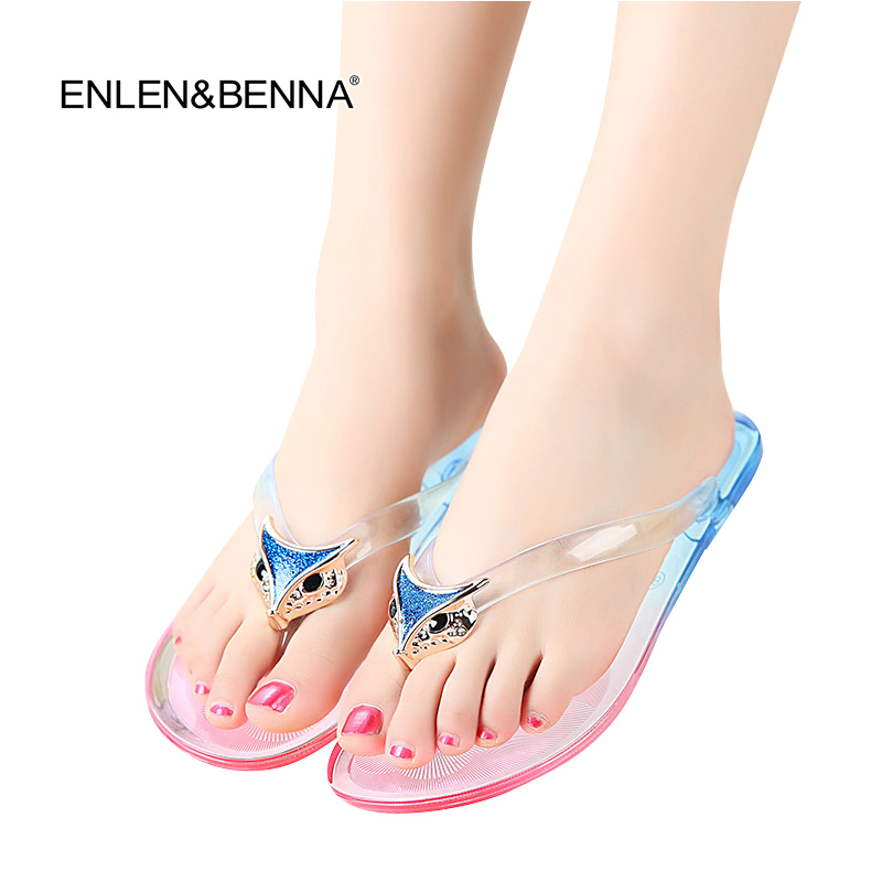 2016 Valentine Brand Designer Flip Flops Women Flat Female Slippers Summer Shoes With Sequined Fashion Sandals Jelly Shoes Women
