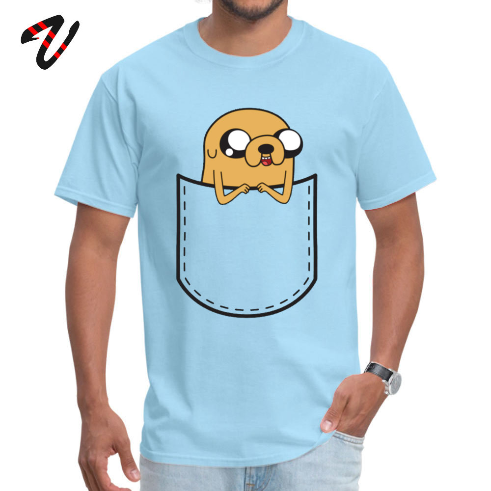 Adventure Time Pocket Jake Retro Men Top T-shirts O Neck Short Sleeve 100% Cotton Tops Shirts Normal Top T-shirts Adventure Time Pocket Jake 963 light