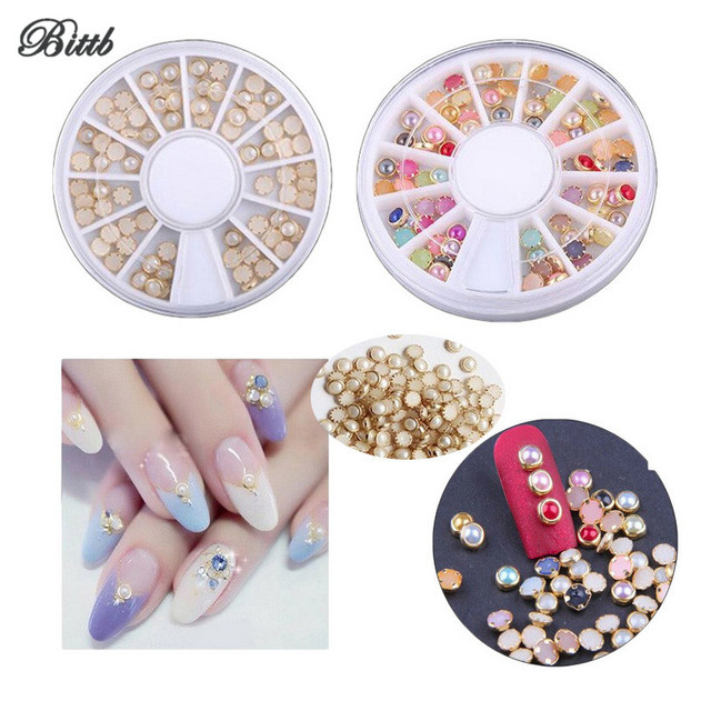 Bittb 1 Pack Nail Decoration Fake Diamonds Beige Mix Color Nail Art Dotting  Diamond Glitter 3D Nail Art Accessories Rhinestones 7a347d372d5b