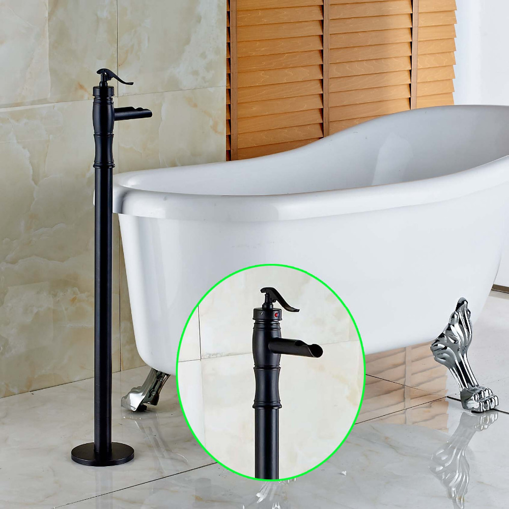 New Oil Rubbed Bronze Waterfall Floor Mount Bathroom Tub Faucet ...