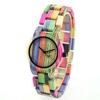 BEWELL для женщин Деревянные часы 100% ручной работы натуральный Красочные бамбука кварцевые наручные Дизайн Роскошные повседневное