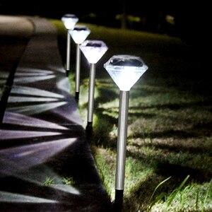 Image 2 - 10 แพ็คสนามหญ้าพลังงานแสงอาทิตย์สำหรับตกแต่งสวนสแตนเลสกลางแจ้งพลังงานแสงอาทิตย์ Powered เพชร Stake ไฟ LED โคมไฟพลังงานแสงอาทิตย์โคมไฟ