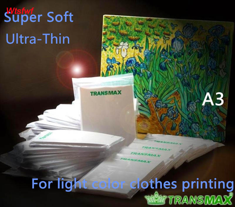 Wtsfwf Free Shipping A3 Light Color Transmax Paper T-shirt Transfer Paper Super Soft Ultra Thin Heat Transfer Paper 50pcs/lot
