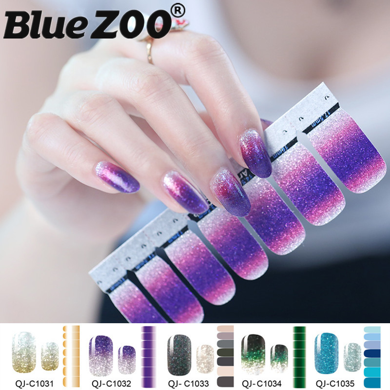 1PC Gradient Color Glitter Powder Stickers Nail Wraps DIY Full Cover Nail Vinyls Water Decals Nails Sticker Art Decorations hot sale 12 styles pink flower designs 3d art nail stickers woman diy nail art decorations tip nail vinyls decals
