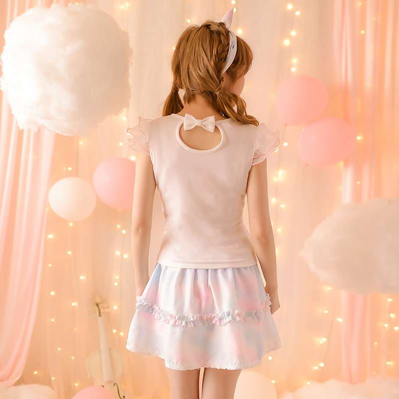 Princess sweet lolita skirts 2016 new summer rain waist print a A-line casual all-match chiffon skirt female C16AB6077