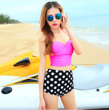 Vintage Tankini Dotted High Waist Bikini 2016 Beach Swimwear Women Crop Top Swimsuit Brazilian Tankini Set