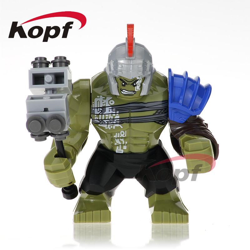 Single Sale Super Heroes Thor Ragnarok 76088 Hulk 7cm Big Size Grandmaster Loki Building Blocks Bricks Toys for children XH 654