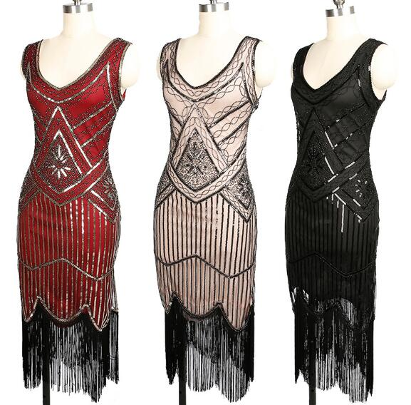Womens 1920s Vintage Style Peacock Sequin Roaring 20s Gatsby Party Flapper Dress