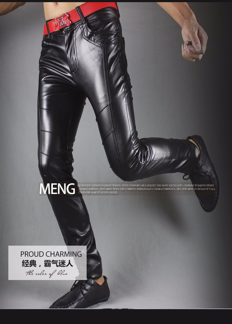 Winter new leather pants men Slim flesh tight pants motorcycle night club hair stylist feet leather pants tide 34