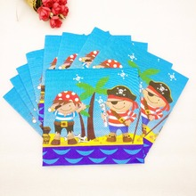 10pc/bag Cute Cartoon Pirates Party Supplies Paper Napkin Birthday Decoration And For Kids