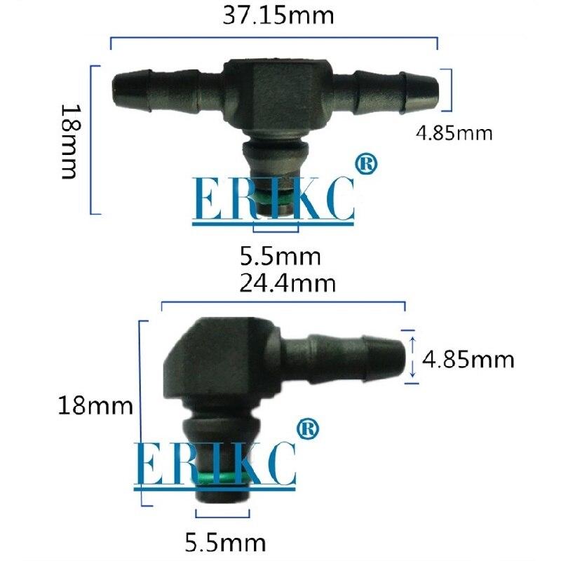 Tipo t e l do refluxo de óleo do retorno de erikc para bosch 110 séries diesel cr peças injetor de combustível plástico 3 bidirecional tubo comum 10 pçs/saco
