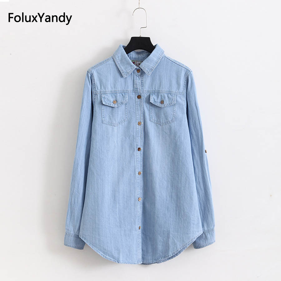 5 XL Plus Size Denim   Blouses   Women Casual Pockets Long Sleeve   Blouse     Shirt   Blue KKFY1341