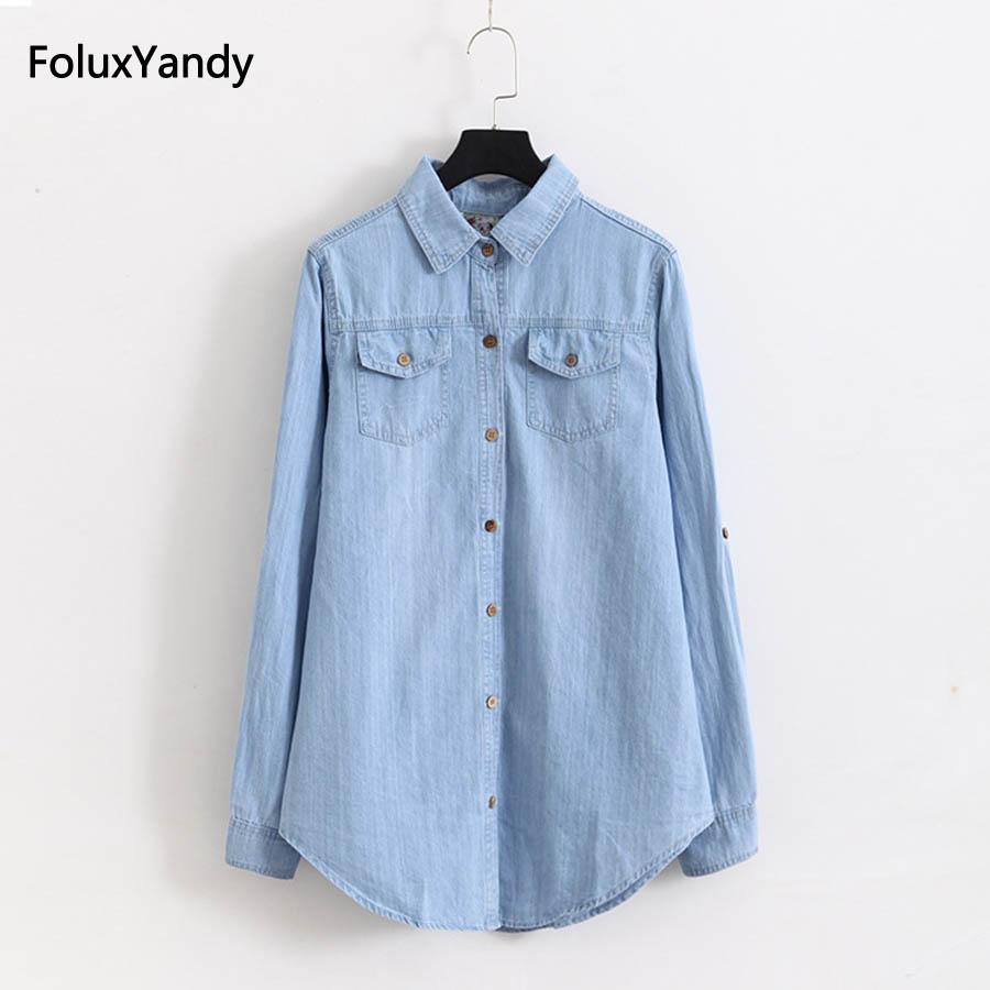 5 XL Plus Size Denim   Blouses   Women Casual Pockets Long Sleeve   Blouse     Shirt   Blue KKFY1341