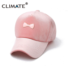 CLIMATE Women Pink Faux Fur Nice Bowknot Warm Baseball Caps Hat Nice Pleuch Fancy  Adjustable For 3b7e1ea2ae2e