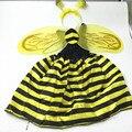 Желто-Черная Полоска Bee Dress Косплей Костюм Пчелы Оголовье Крылья Набор Для Детей Сценический Костюм Производительность Хэллоуин Поставок