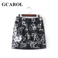 GCAROL New Arrival Ruffles Floral Print Women Mini Skirt Invisible Zip Faux Leather Skirt Classic PU Skirt For 4 Season