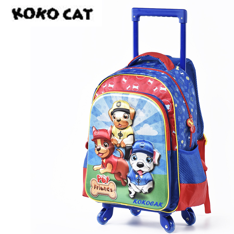 Kids 3D Dog Primary School Rolling Backpack Wheeled Girl Backpacks With Wheels Trolley Bag for Children