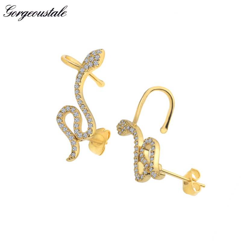 AAA+ Crystal Snake Earrings For Women Ear Crawler Pendientes Mujer Moda Gold Color Stud Earings Fashion Jewelry For Girlfriend