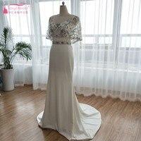 Gorgeous Mermaid Evening Dresses Ivory Elegant Formal Dress With Beading Jacket Soft Satin Prom Dress Vestido De Noiva ZE028