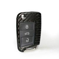 מקרה הגנת קליפת מפתח Fob מרחוק מכונית סיבי פחמן אמיתי מחזיק כיסוי עבור פולקסווגן גולף 7 Sportsvan Lamando טוראן סקודה מעולה