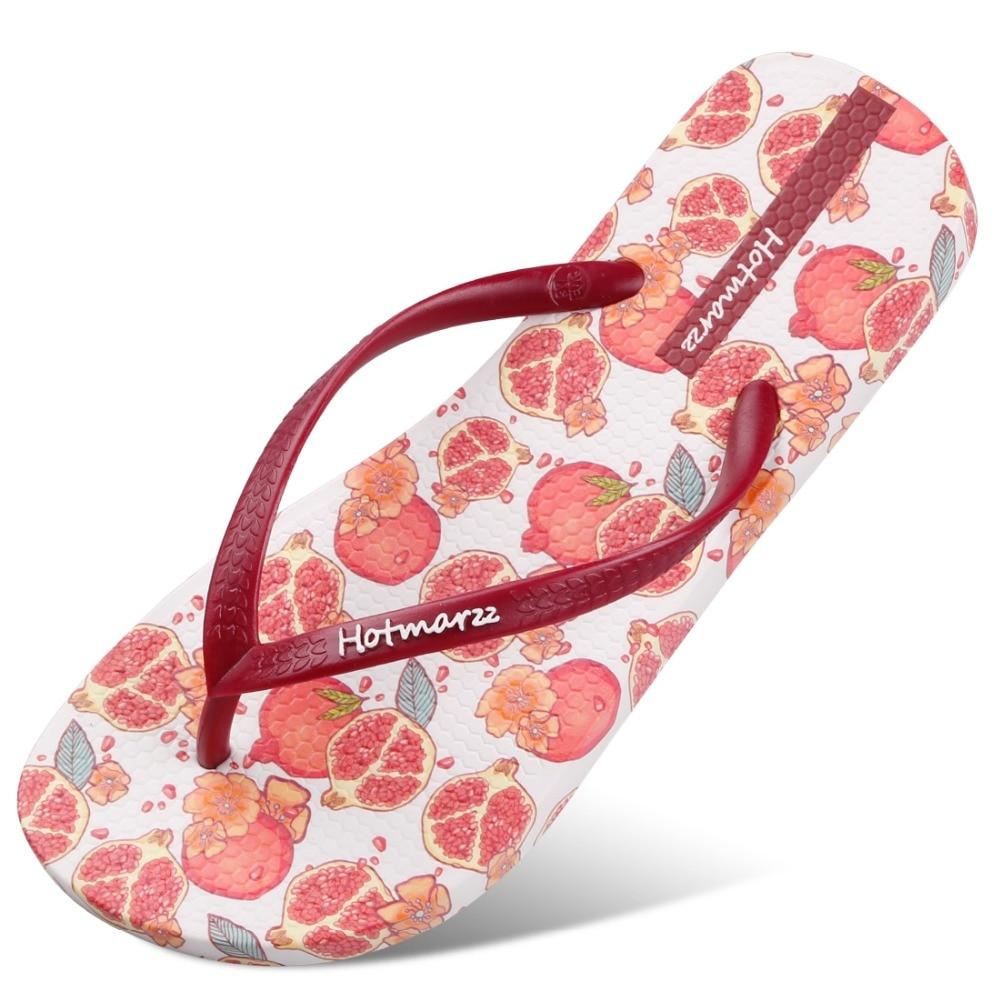 Hotmarzz Women's Sweet Flowers Pattern Summer Beach Slippers Tong Sandals Flat Slides