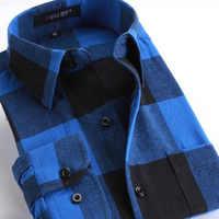 8ace3e739d0 Для мужчин длинный рукав фланель подушки из чистого хлопка в клетку  печатных рубашки для мальчиков Camisa