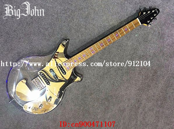 free shipping new single wave electric guitar with led light organic glass body jt 54 in guitar. Black Bedroom Furniture Sets. Home Design Ideas