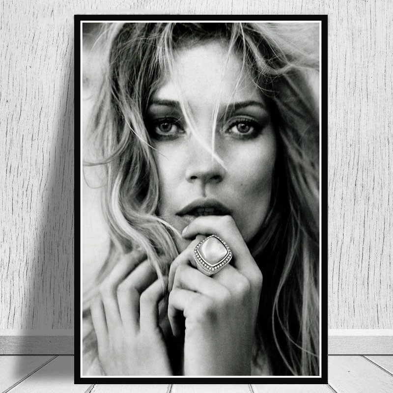 لوحة زيتية قماشية الساخن كيت موس نموذج نجمة الأزياء بريجيت أسود أبيض المشارك يطبع الفن جدار الصور غرفة المعيشة ديكور المنزل