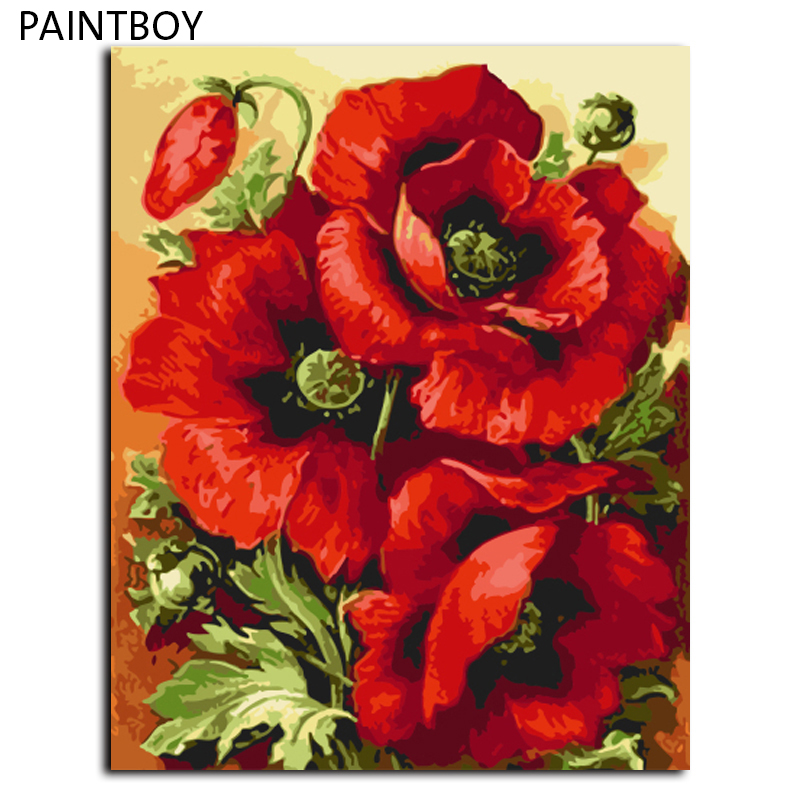 PAINTBOY Red Flower DIYFramed Pictures Painting By Numbers DIY Digital Canvas Oil Painting Home Decor GX7662 40*50cm