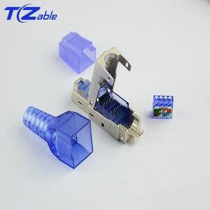 Image 3 - RJ45 Cat7 konektörü 10Gbps Ethernet kalkanı ağ fiş sıkma RJ45 yeniden kullanılabilir Ethernet kablosu Cat6 adaptörü kristal konektörler