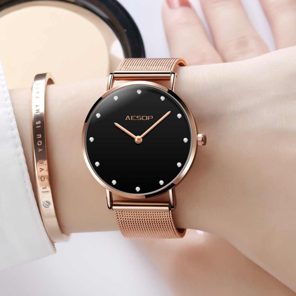 229067892d34 Reloj Mujer OLEVS Black Watches For Women Luxury Rose Gold Bracelet Ultra  Thin Ladies Watch Dress