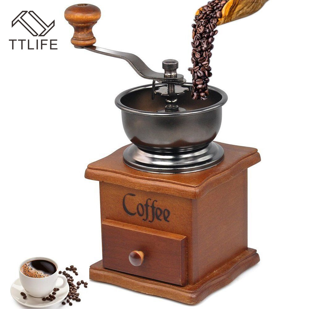 TTLIFE Classical Wooden Mini Manual Coffee Grinder Stainless Steel Retro Coffee Spice Mill With High quality Porcelain Movement|spice mill|spice spices|spice stainless - title=