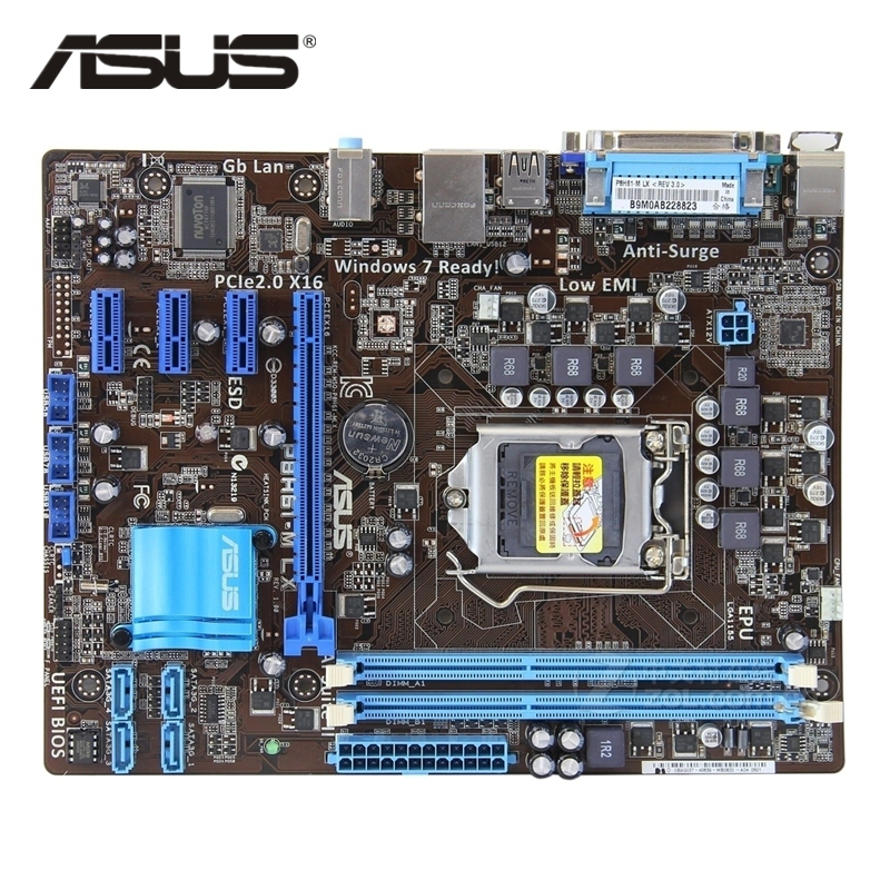 ASUS P8H61-M LX Original ASUS H61 M motherboard Socket LGA 1155 uATX DDR3 DVI VGA USB2.0 16GB Desktop Mainboard asus p8z77 m desktop motherboard z77 socket lga 1155 i3 i5 i7 ddr3 32g uatx uefi bios original used mainboard on sale