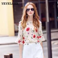 YEYELANA Women Casual Blouses 2017 New Summer Chiffon Blouse Printed O Neck Flare Sleeve Vintage Blouse