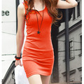 Sexy Women Vest Solid Color Stretch Bodycon Sleeveless Mini Dress Summer Casual Sundress