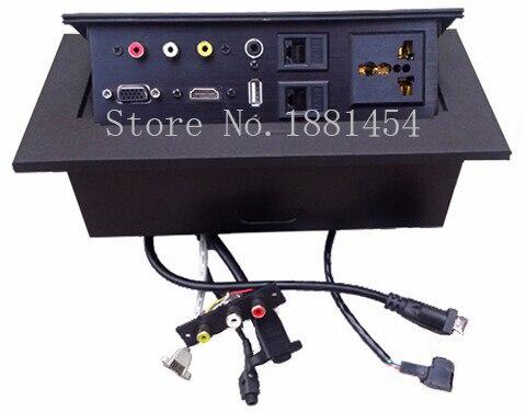 2018 EU plug Tabletop socket /hidden/ Damping spring open Information outlet /Office conference room High-grade desktop socket