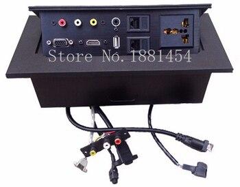 2019 EU plug Tabletop socket /hidden/ Damping spring open Information outlet /Office conference room High-grade desktop socket