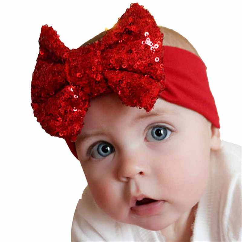 Baby Girl Sequins Bling Headbands 13 Colors Turban Elastic Hair Bands Accessories for Girls Headdress Photography Props