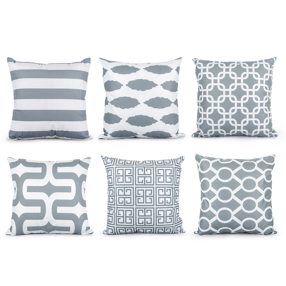 Cheap throw pillows for couch - Topfinel Geometric Cushion Cover Cheap Grey Pillow Covers For Puff Sofa Seat Chair Velvet Decorative Throw Pillow Covers Cases