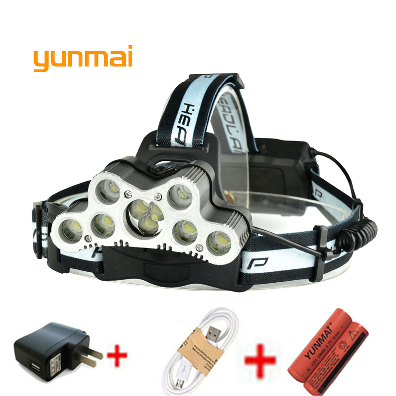 yunmai Strong USB 9 Led NEW Headlamp XM L T6 Q5 Headlight 25000 lumens Waterproof Head Flash Lamp Camp Hike Fishing Light high power 5 cree led headlamp xm l t6 q5 headlight 15000 lumens head lamp camp hike frontale flashlight fishing hunting lights